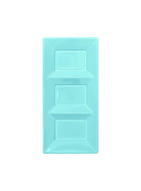 Petisqueira Descartável de Luxo Azul Claro – 3 unidades