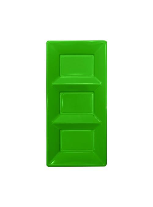 Petisqueira Descartável de Luxo Verde – 3 unidades