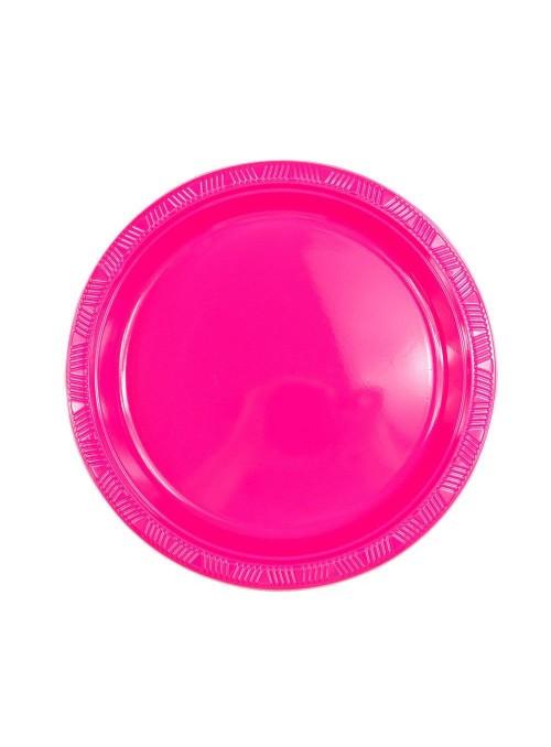 Pratos Refeição Descartáveis de Luxo Rosa – 10 unidades