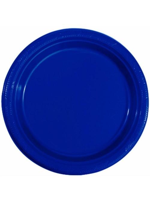 Pratos Refeição Descartáveis de Luxo Azul Escuro – 10 unidades