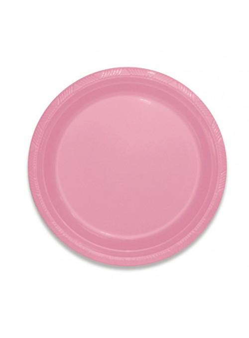 Pratos Refeição Descartáveis de Luxo Rosa Claro – 10 unidades