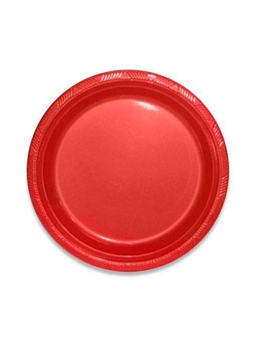 Pratos Refeição Descartáveis de Luxo Vermelho – 10 unidades