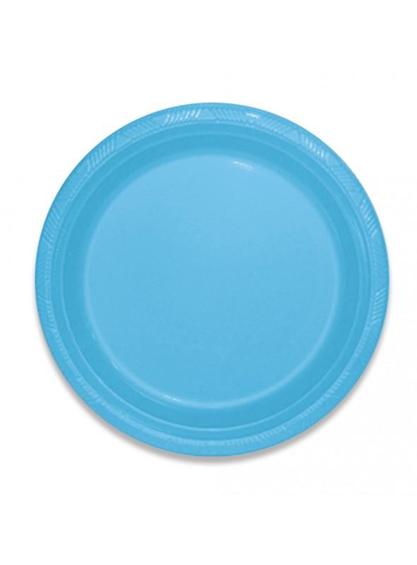 Pratos Refeição Descartáveis de Luxo Azul Claro – 10 unidades