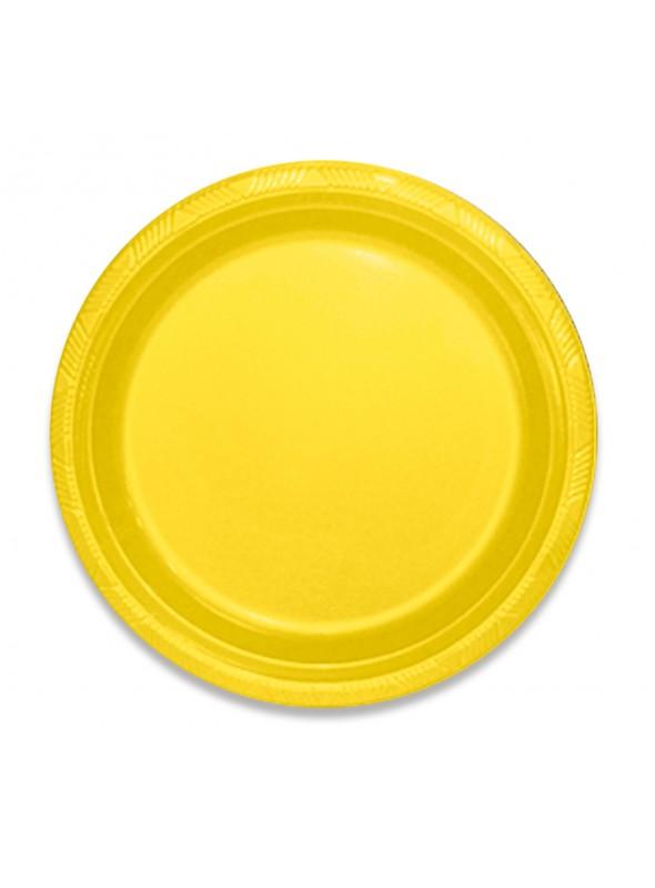 Pratos Refeição Descartáveis de Luxo Amarelo – 10 unidades
