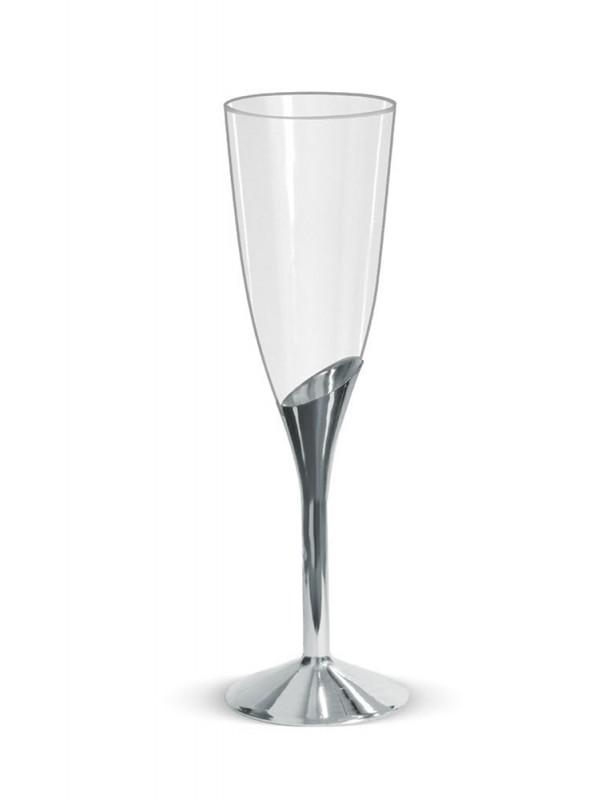 Taças Champanhe Descartáveis de Luxo Prata – 6 unidades