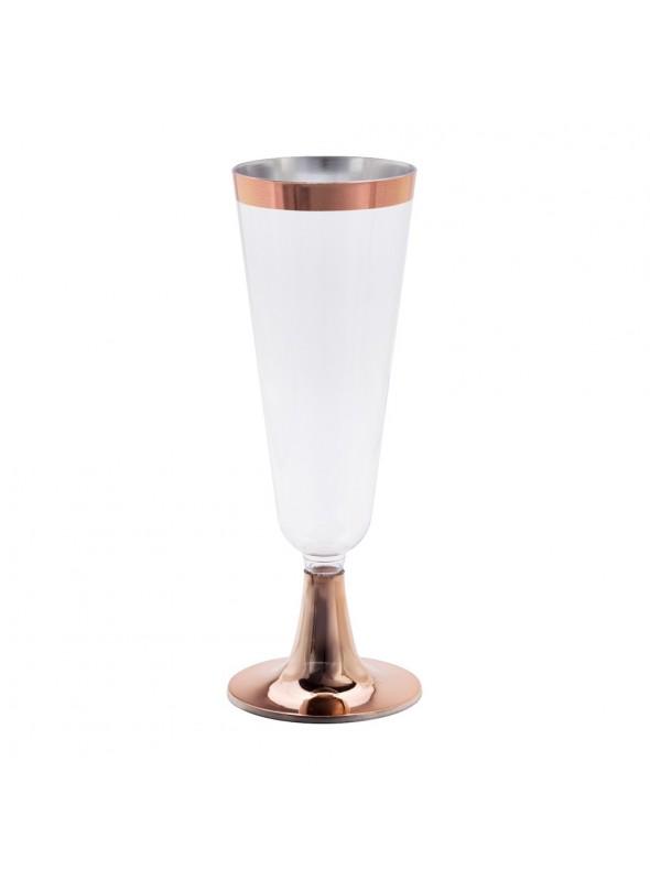 Taças Champanhe Descartáveis de Luxo Rose Gold – 4 unidades