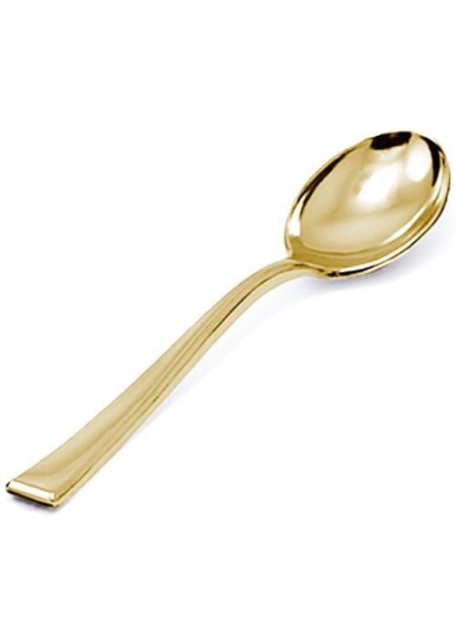 Colheres Sobremesa Descartáveis de Luxo Dourada – 8 unidades