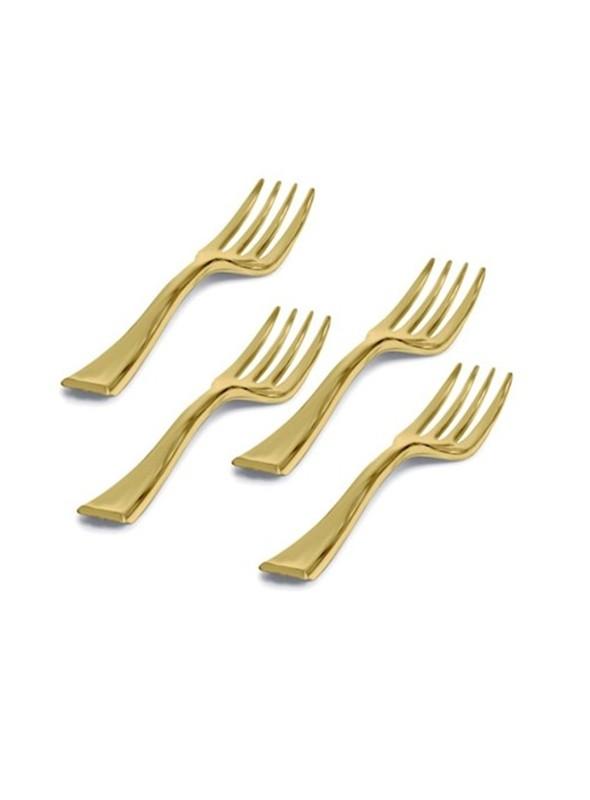 Mini Garfos Descartáveis de Luxo Dourado – 20 unidades