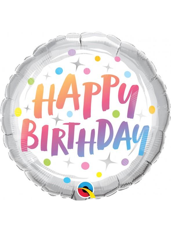 Balão Metalizado Qualatex Aniversário Pontinhos – 1 unidade