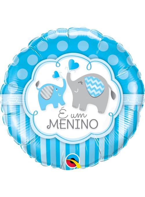 Balão Metalizado Qualatex Maternidade Menino Elefantes – 1 unidade
