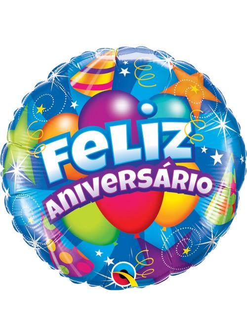 Balão Metalizado Feliz Aniversário Festa Qualatex – 1 unidade
