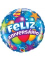 Balão Metalizado Feliz Aniversário Festa 18 Polegadas 46cm Qualatex – 1 unidade