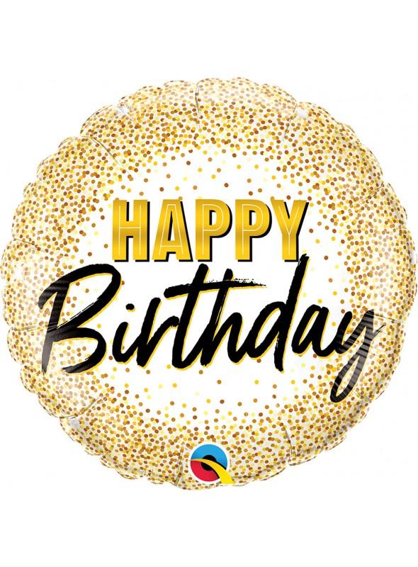 Balão Metalizado Aniversário Pontos Dourados Qualatex – 1 unidade