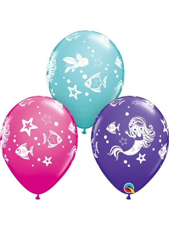 Balões de Látex Sereia e Amigos Qualatex – 10 unidades