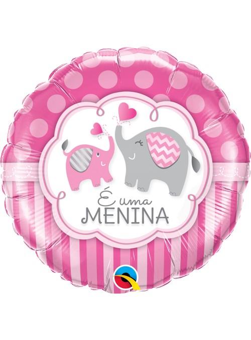 Balão Metalizado Elefantes É Menina Qualatex – 1 unidade