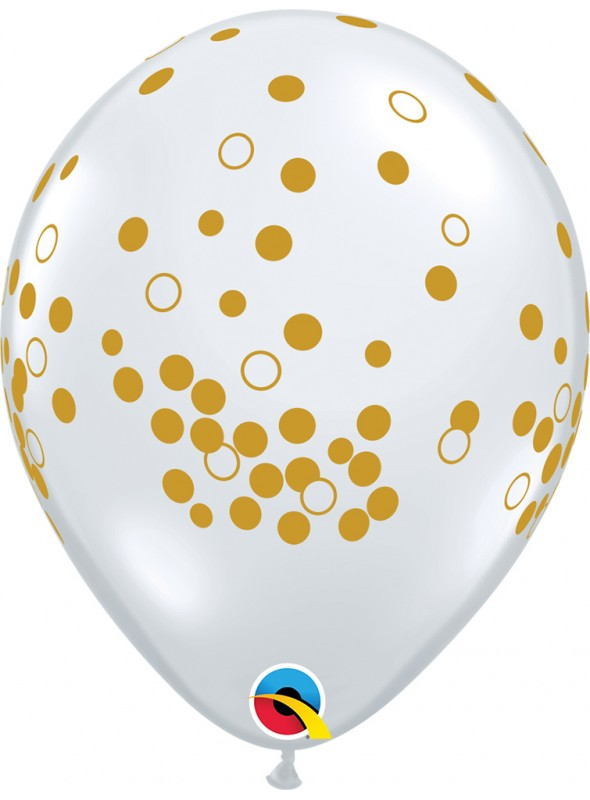 Balões de Látex Pontos de Confetes Qualatex – 10 unidades