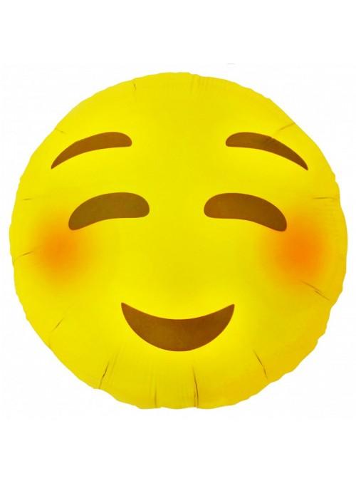 Balão Metalizado Emoji Carinha Tímido – 1 unidade