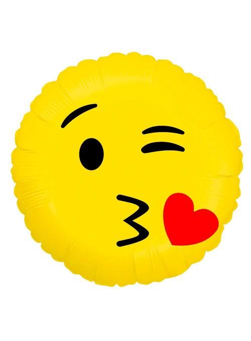 Balão Metalizado Emoji Carinha Beijo Apaixonado – 1 unidade