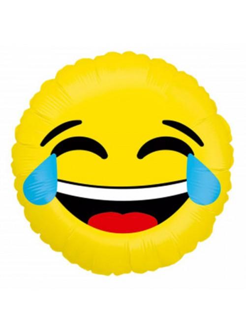 Balão Metalizado Emoji Carinha Chorando de Rir – 1 unidade