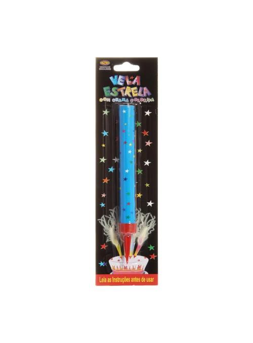Vela de Aniversário Estrela chama Azul – 1 unidade