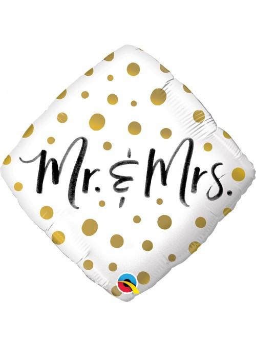 Balão Metalizado Losango Mr e Mrs Qualatex – 1 unidade