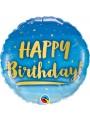 Balão Metalizado Aniversário Dourado e Azul Qualatex – 1 unidade