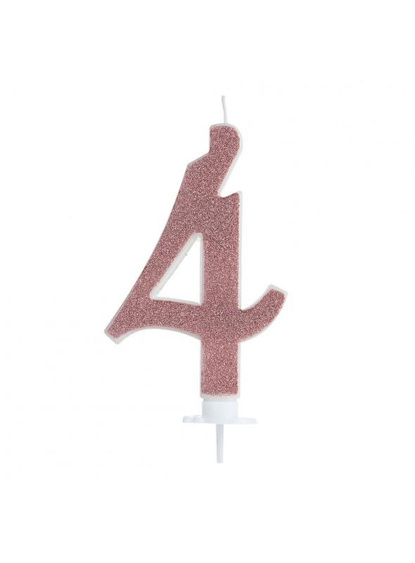 Vela de Aniversário Rose Gold Número 4 – 1 unidade