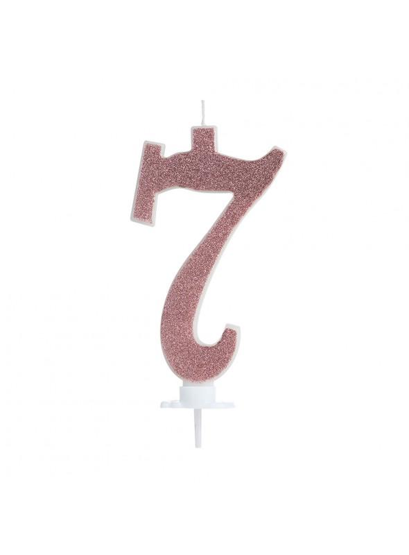 Vela de Aniversário Rose Gold Número 7 – 1 unidade