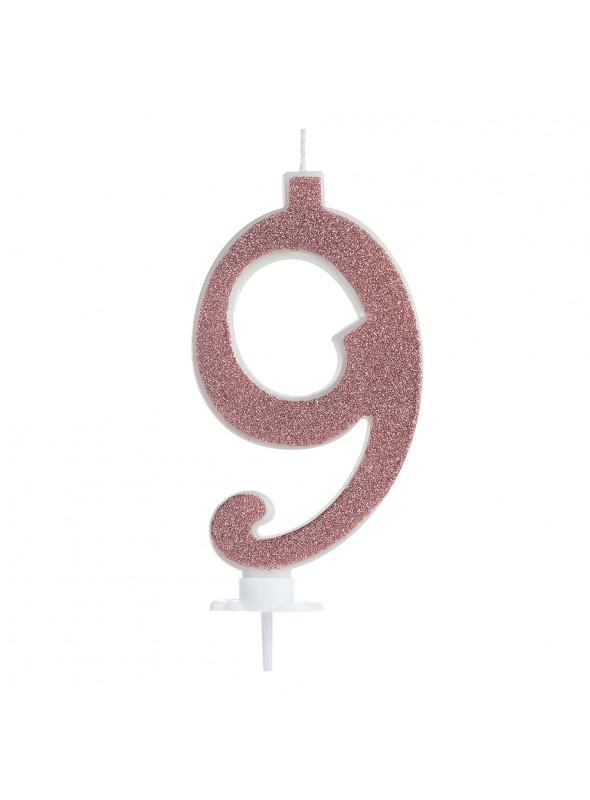 Vela de Aniversário Rose Gold Número 9 – 1 unidade