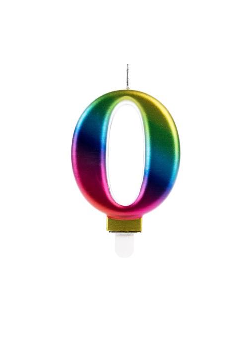 Vela de Aniversário Wave Colorida Número 0 – 1 unidade