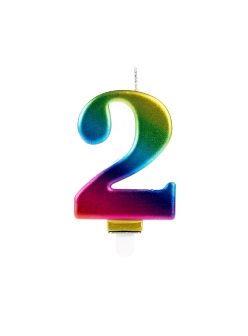 Vela de Aniversário Wave Colorida Número 2 – 1 unidade