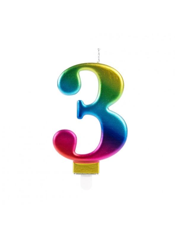 Vela de Aniversário Wave Colorida Número 3 – 1 unidade