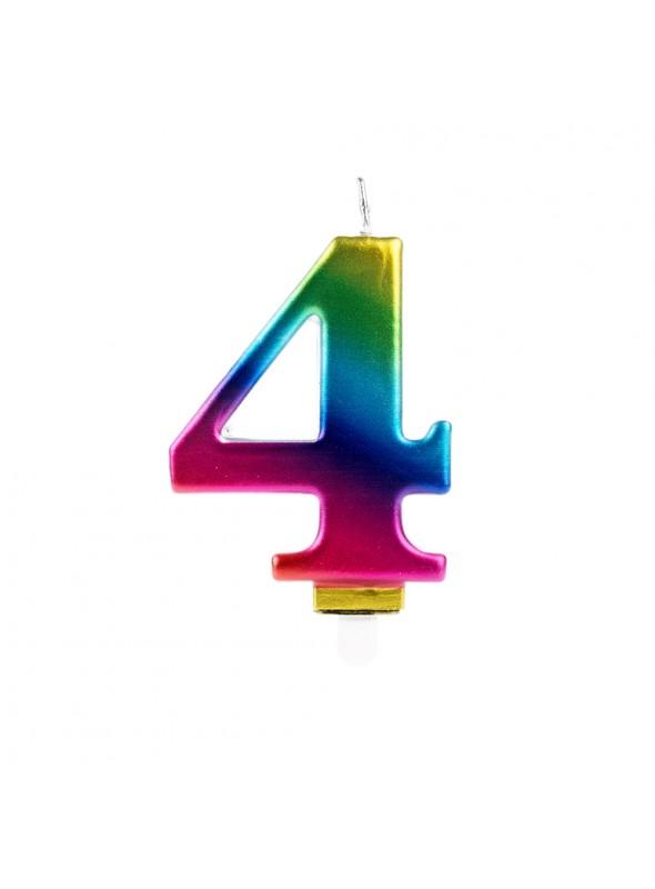 Vela de Aniversário Wave Colorida Número 4 – 1 unidade