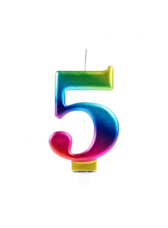 Vela de Aniversário Wave Colorida Número 5 – 1 unidade