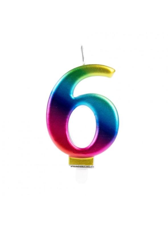 Vela de Aniversário Wave Colorida Número 6 – 1 unidade