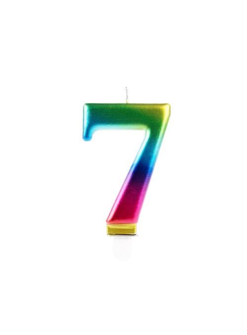 Vela de Aniversário Wave Colorida Número 7 – 1 unidade