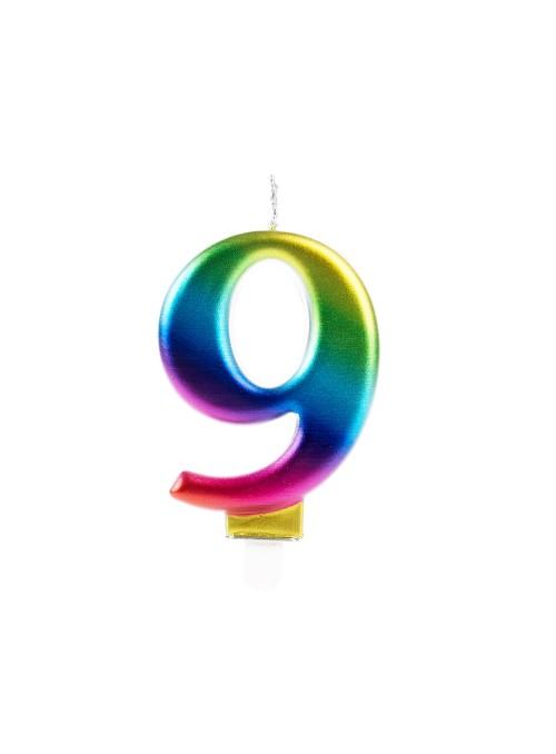Vela de Aniversário Wave Colorida Número 9 – 1 unidade