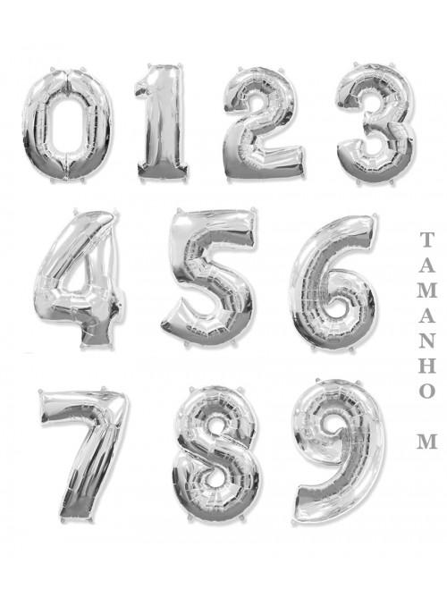 Balões Metalizados Prata Números Tamanho M