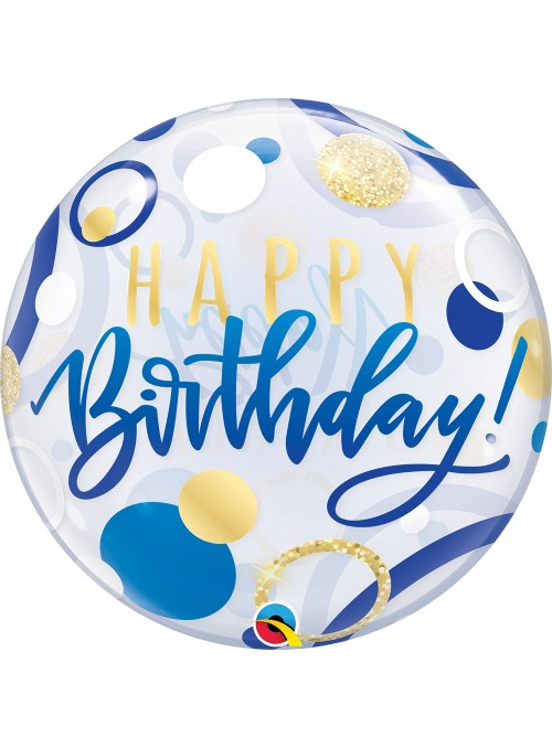Balão Bubble Transparente Aniversário Azul e Pontos Dourados Qualatex – 1 unidade