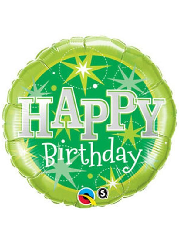 Balão Metalizado Aniversário Verde Qualatex – 1 unidade