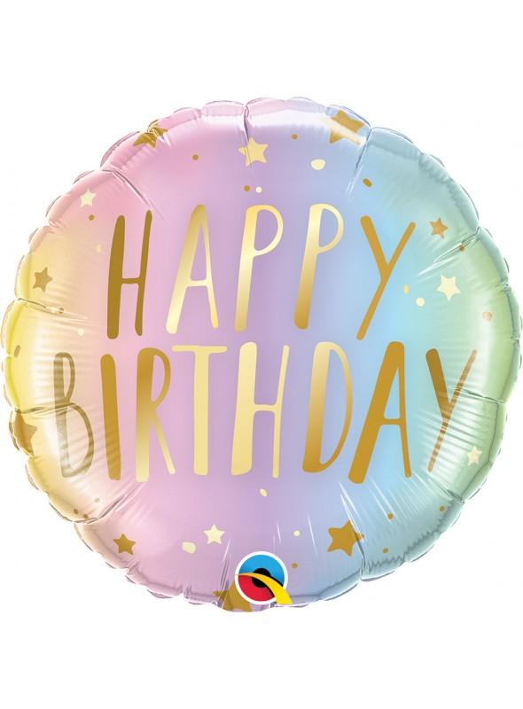 Balão Metalizado Aniversário Candy Colors Pastel Qualatex – 1 unidade