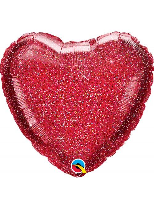 Balão Metalizado Coração Glitter Vermelho Qualatex – 1 unidade