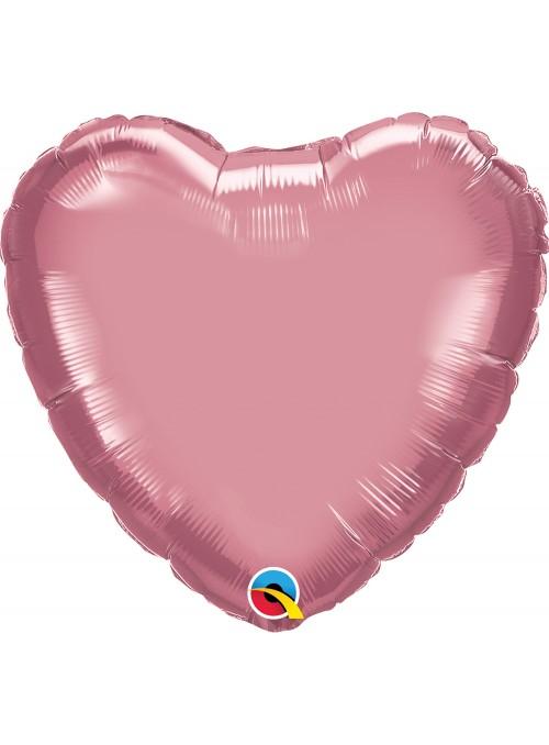 Balão Metalizado Chrome Coração Rosa Qualatex – 1 unidade