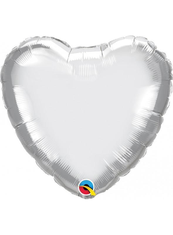 Balão Metalizado Chrome Coração Prata Qualatex – 1 unidade