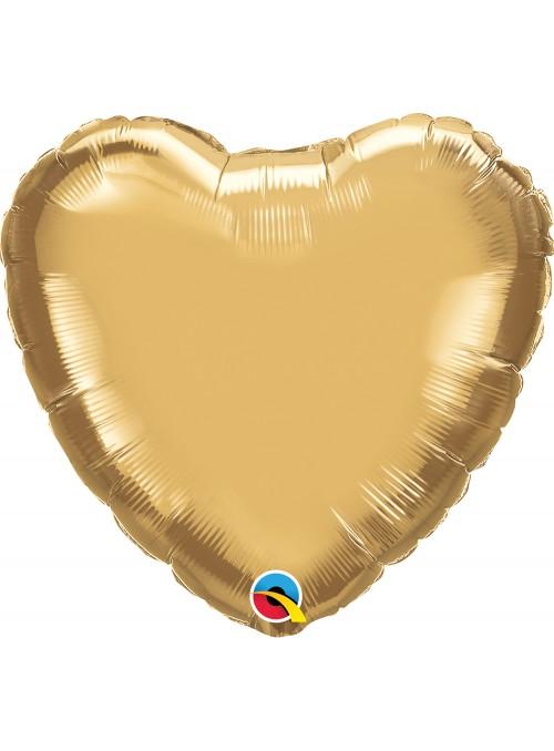 Balão Metalizado Chrome Coração Dourado Qualatex – 1 unidade