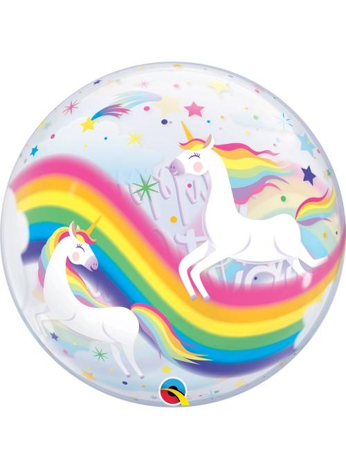Balão Bubble Transparente Aniversário Arco Iris Unicórnio - 1 unidade