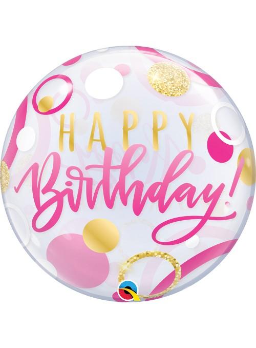 Balão Bubble Transparente Aniversário Rosa Pontos Dourados - 1 unidade