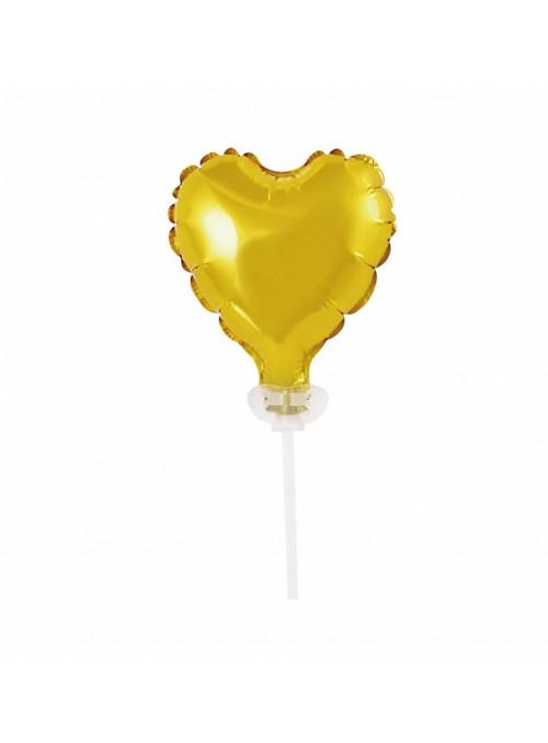Balão Metalizado Topo de Bolo Coração Dourado – 1 unidade