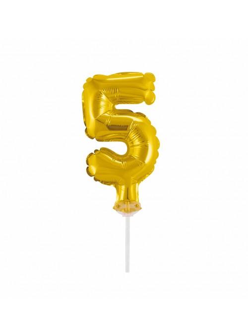 Balão Metalizado Topo de Bolo Número 5 Dourado – 1 unidade