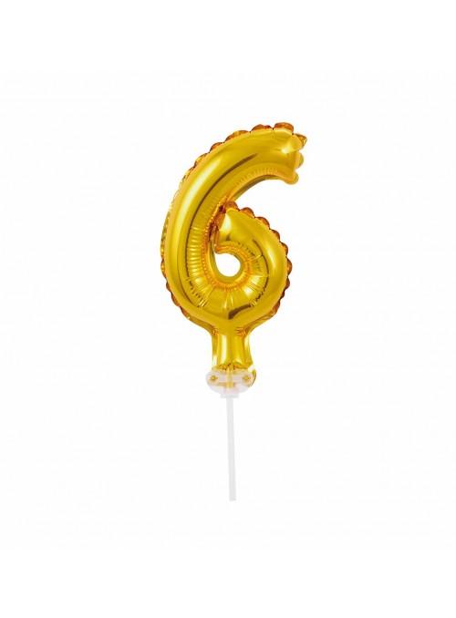 Balão Metalizado Topo de Bolo Número 6 Dourado – 1 unidade